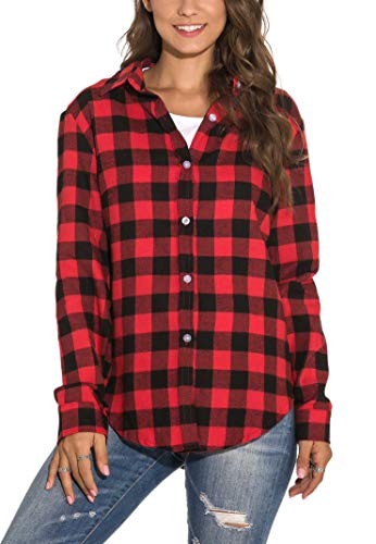 GUANYY Women's Long Sleeve Casual Loose Classic Plaid Button Down Shirt (Red Black, Large)
