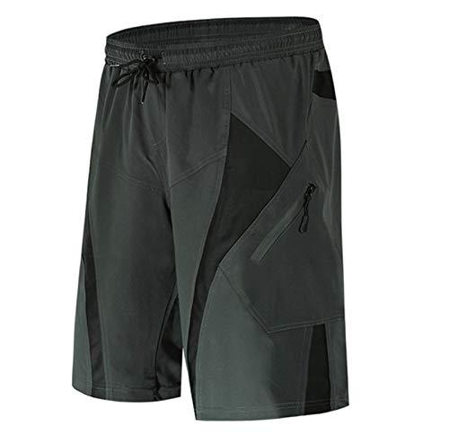 Wxnnx Pantalones Cortos De Ciclismo para Hombre,  con Bolsillos con Cremallera,  Pantalones Cortos De Bicicleta De Montaña MTB Acolchados En 3D Y Holgados Y Ligeros, XXL