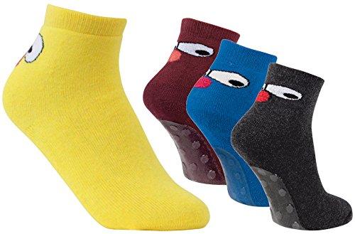 4 paar stoppersokken met rubberen zool ABS-sokken, badstofsokken, tegelflessenflessenflessen/huisschoenen, maat 20-27.
