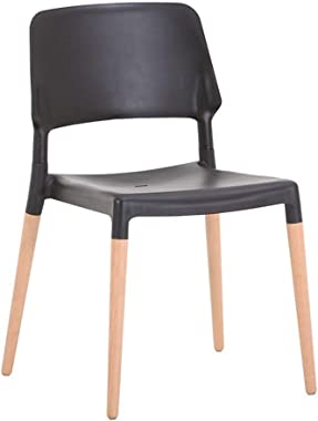Chair Dining Chairs with Wood Legs, Modern Mid Century Dining Chairs Set of 1/4, Plastic Shell Accent Side Chairs for Kitchen