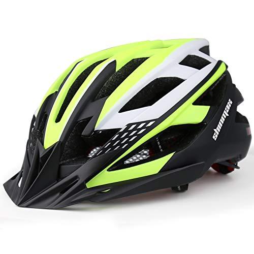 Shinmax Casco Bici,Casco Bici da Corsa,Certificato CE,Casco da Bicicletta con Visiera Parasole Rimovibile,Casco Bici con Luce di Sicurezza Uomo Donne Mountain,Casco da Bici per Adulti 57-62CM