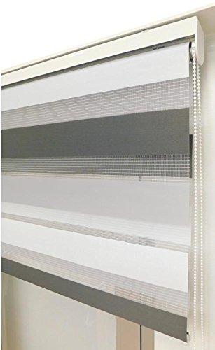 Estor Noche y día Enrollable a Medida Basic Tricolor Gris Oscuro - Gris - Blanco. Medida 137cm x 180cm para Ventanas abatibles y Puertas.