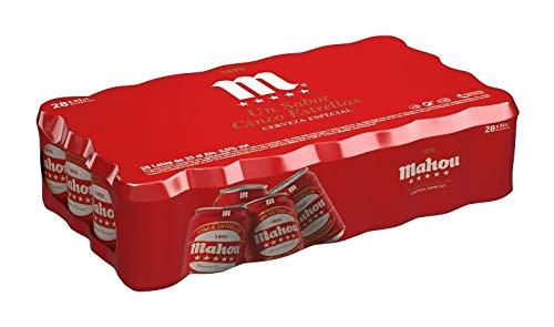 Bier Mahou 5 Sterne 28x33cl (Pack 28 Dosen)