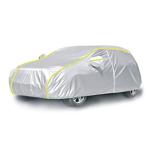 IZUKU Telo Copriauto da Esterno Impermeabile Telo per Auto con Strisce Fluorescenti Antigraffio Anti-UV Anti polveri/ Acqua/ Neve/ Foglie 485*190*185cm, Argento