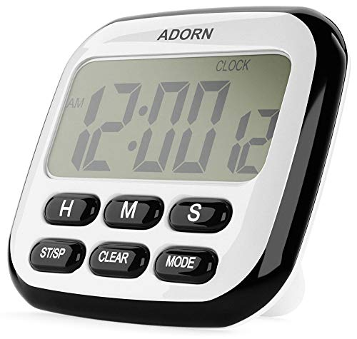 Digital Kitchen Timer - Multifunctional 24-Hour Clock for Cooking and Baking - Loud Alarm, Strong Magnet, Count-Up and Count Down for Gym, Home and Office (Battery Included) - by Adorn Gift (Black)