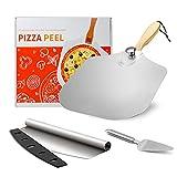 Pizzaschaufel 30,5 cm x 36 cm, Pizzaschneider und Pizzaheber, Aluminium Pizzaschieber mit faltbarem Holzgriff, Non-Stick-Design, zum Backen von Pizza, Kuchen, Brot & Gebäck