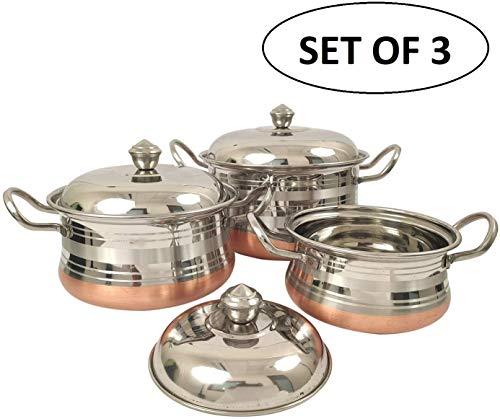 Set van 3 koperen bodem roestvrij staal Kadai kookgerei set huis/motel keukengerei accessoires gereedschap staal serveerpot Set staal Handi voor het koken Indiase Kadai (76-42-25 ounce)