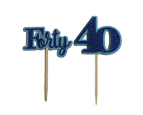 All About Details Blue Forty Cupcake Toppers, Set of 12, 2 x 4