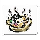 Mauspadmatte, Farben Weißes Essen Oden Heiße japanische Atsuatsu-Bürste Chikuwa Cook Druable Mausmatte Für Computerklasse,25x30cm