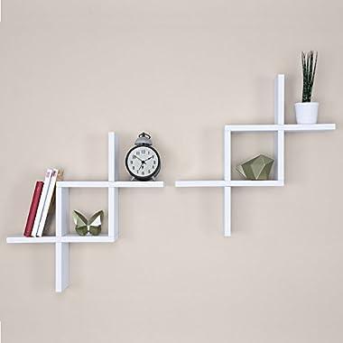 Ballucci Criss Cross Floating Wall Shelf, Set of 2, White