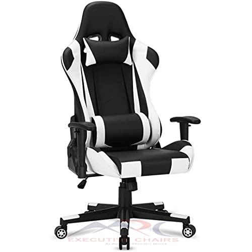 MRC EXECUTIVE CHAIRS ALWAYS INSPIRING MORE Predator Gaming Chair Racing Style Ergonomic Premium High Back Revolving Computer Chair/Student Chair (Black & White)