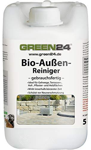 GREEN24 Profi Bio-Außen-Reiniger 5 Liter - Haustier freundlicher Spezial Steinreiniger für Wege, Terrasse, Pflaster, Naturstein, Holz und WPC gebrauchsfertig