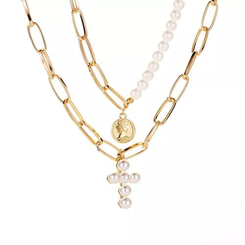QiuYueShangMao Colgante de Collar Collar de Gargantilla de Cadena de Color Dorado de Moneda Redonda de Doble Capa con Colgante de Perla Vintage para Mujer joyería Gruesa Regalo para Ella