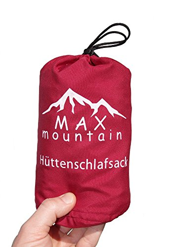 Max Mountain Sacco a pelo in microfibra traspirante I Sacco a pelo Inlay I 300 g Sacco a pelo estivo leggero ideale per hotel, rifugi di montagna e ostelli, SB-R01, rot, 220x90cm