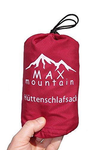 Max Mountain - Saco de dormir para de microfibra, 300g, ligero, transpirable, ideal para hotel y excursionismo, rojo, 220x90cm