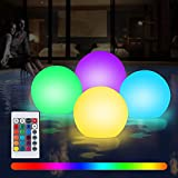 Gohytal 4 luces LED flotantes para piscina, impermeables, luz nocturna, con mando a distancia para piscinas, acuarios, estanques, decoración de interiores, bodas