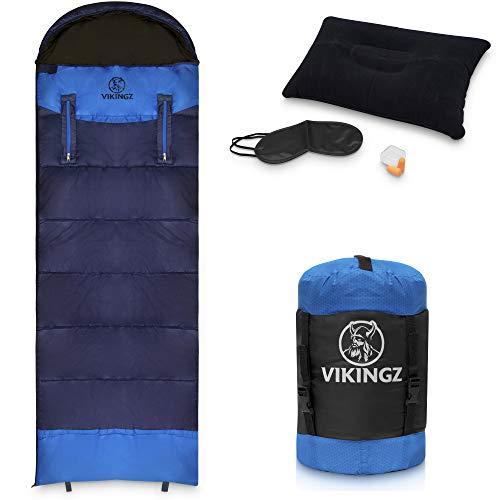 VIKINGZ Schlafsack 3-4 Jahreszeiten für Erwachsene und Kinder | Deckenschlafsack | Winterschlafsack robust & wasserdicht | kleines Packmaß Ultraleicht - Ideal für Camping, Outdoor, Festival + Bonus