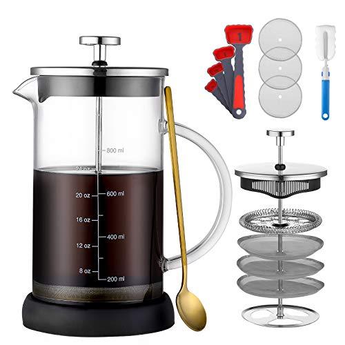 ONEISALL French Press Kaffeebereiter, 18/8 Edelstahl Kaffeepresse Teebereiter mit Filtern, hitzebeständiges Borosilikatglas, rutschfeste Silikonbasis, leicht zu reinigen (1000 ml)