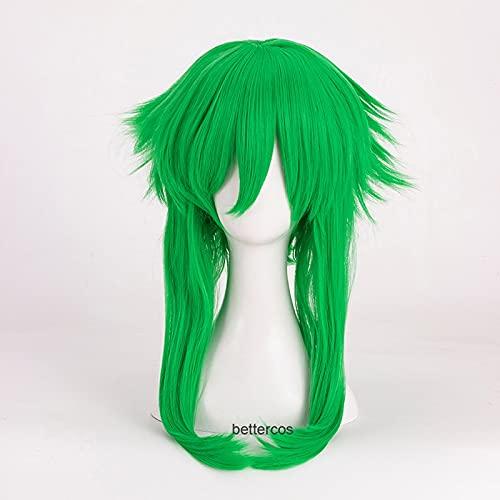 Peluca de Cosplay VOCALOID Megpoid Gumi, peluca de pelo sintético resistente al calor verde hierba Anti-Alice + gorro de peluca