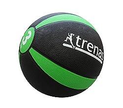 trenas Medizinball PRO, Schwarz/Grün, 3 kg