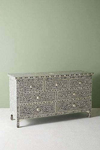 New Bone Inlay Handmade Indian Chest of 7 Drawers Commode Dresser Sideboard Beautifully Crafted Home...