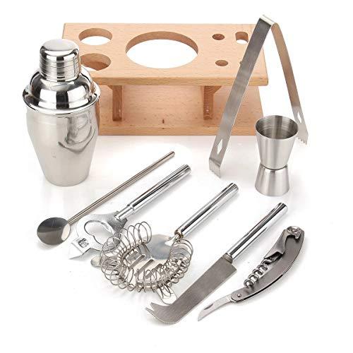 Coctelería conjunto de acero inoxidable coctelera mezclador bebida barman bar herramientas fabricante kit 8 unids 250 ml