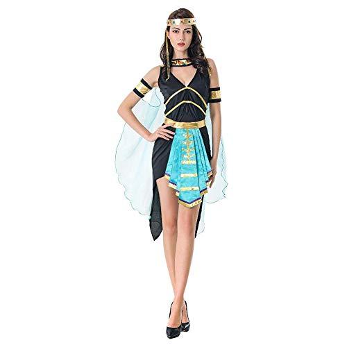 Damen Kleopatra Kleid Ärmellos V-Ausschnitt Altägyptische Königin Partykleid Cleopatra Aphrodite Göttin Kostüm mit Zubehör Verkleiden Erwachsene Prinzessin Halloween Karneval Cosplay Outfit Blau