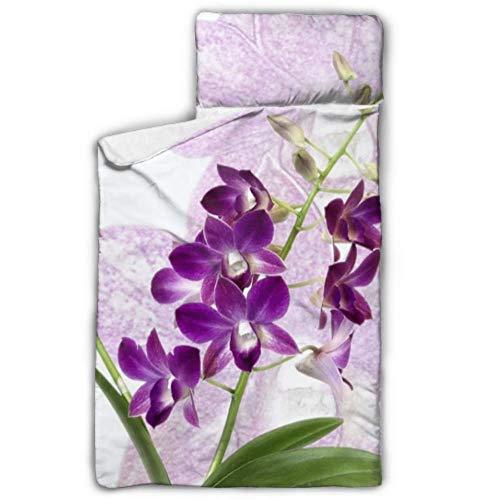 Orchid Dendrobium Purple Blossom Bloom Close Up Matelas de sieste pliable Garçons de sieste mat avec une conception de rollup de couverture et un oreiller idéal pour les gardes de jour pour enfants