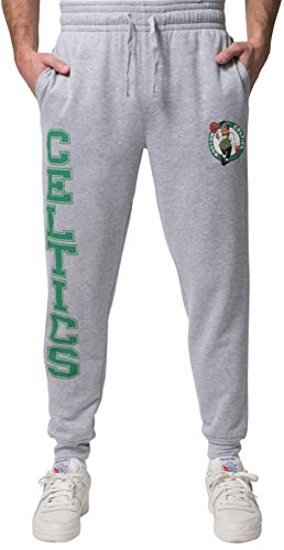 Ultra Game NBA Boston Celtics Mens Basic Soft Terry Jogger Pants, Right Leg Logo, Large