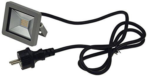 ChiliTec LED Fluter Aussenstrahler 10W warmweiss IP44 wetterfest 1,5m Kabel mit Schutzkontaktstecker Silber