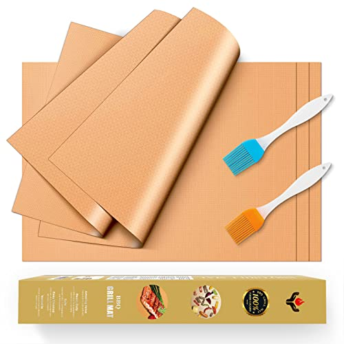 YRYM HT Copper Grill Mat and Bake Mat Set of 5 Non Stick BBQ Grill & Baking Mats - Reusable, Easy to Clean - PTFE Teflon Fiber Grill Roast Sheets for Gas, Charcoal, Electric Grill (Gold)