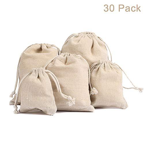 Ameiqa Brotbeutel,Sackleinen Taschen für Tee Schmuck Hochzeit Bevorzugungen Lagerung - Packung mit 30