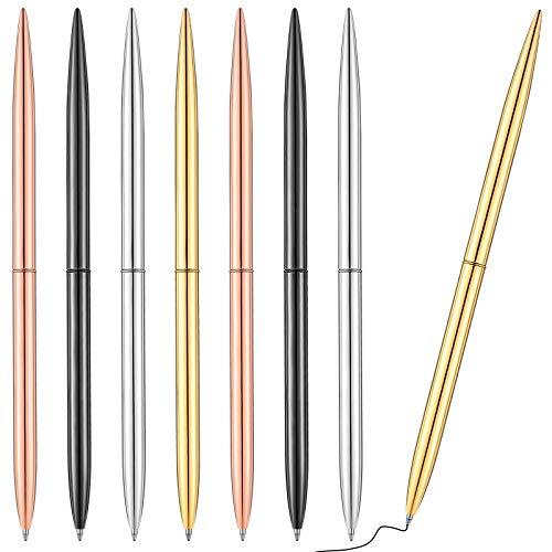 8 Piece Metal Ballpoint Pen Set, Metal Twist Black Ink Pen Slim Metallic Ballpoint Pens Writing Pen, Home School Office Supplies for Students Teachers, Gold, Rose Gold, Steel, Silver
