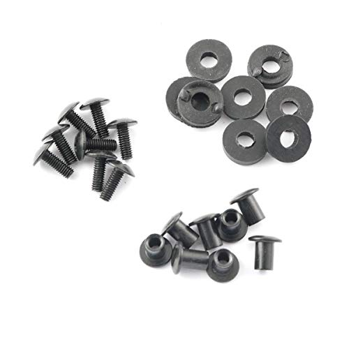 Pro Bamboo Kitchen 8 Sets Cross Head Chicago Screws with Slotted Fastener and Rubber Washer/Gasket for Clips and Knife Sheaths
