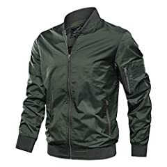 Material: Polyester; Lightweight, Windbreaker, Breathable Full zipper stand collar bomber jacket, The zipper head is on the left FEATURE: Rib Knit Cuffs, Waistband, Collar for comfort, Dual pen pockets on sleeve MULTI-POCKETS: 1 zipper sleeve pocket,...