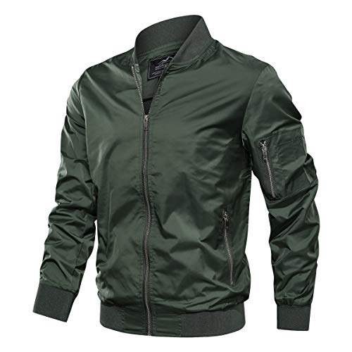 TACVASEN Men's Jacket-Lightweight Thin Sportwear Varsity Jacket, Green XL