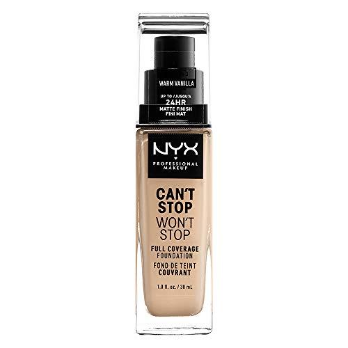 NYX Professional Makeup Can't Stop Won't Stop Full Coverage Foundation, Langanhaltend, Wasserfest, Vegane Formel, Mattierter Teint, Farbton: Warm Vanilla