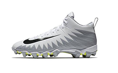 Nike Men's Alpha Menace Shark Football Cleat White/Black/Metallic Silver/Wolf Grey Size 8 M US
