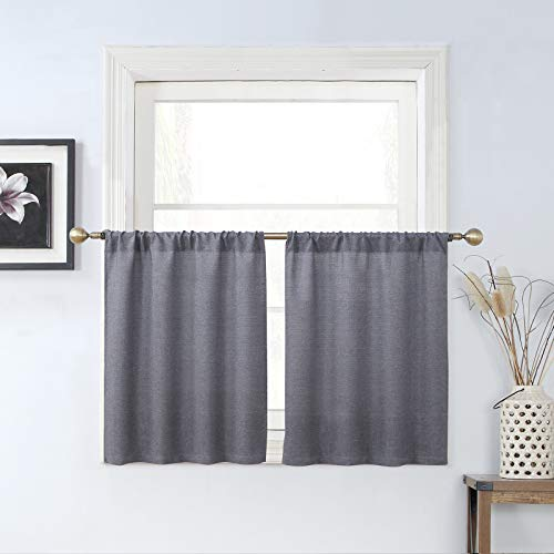 Rama Rose Rod Pocket Burlap Tier Curtains for Small Window, Short Tailored Kitchen Curtains, Cafe Drapes, 2 Panels, 54 Inches Wide Combined, 36 Inches Long, Grey