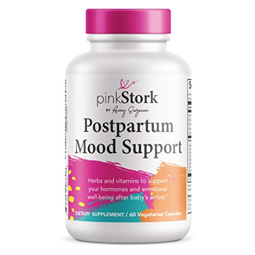 Pink Stork Postpartum Mood Support: Balance Hormones with Ashwagandha + Recovery with Prenatal Vitamins, Formulated for Breastfeeding, Women-Owned, 60 Capsules