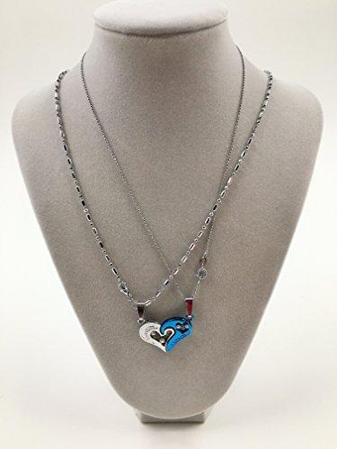 『選べる カラー ハート ペア ネックレス メンズ レディース 専用ケース & ギフト袋 付き (ブルー)』の2枚目の画像