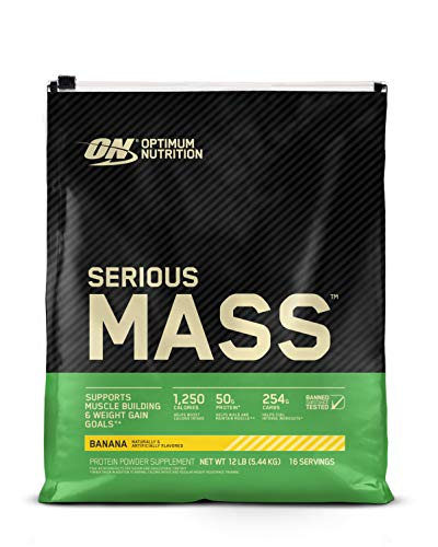 Optimum Nutrition Serious Mass Weight Gainer Protein Powder, Vitamin C, Zinc and Vitamin D for Immune Support, Banana, 12 Pound (Packaging May Vary)