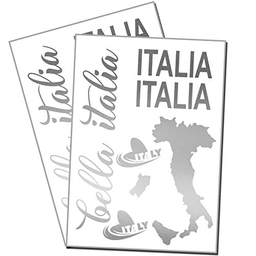 Finest Folia Bella Italia Aufkleber Set Italien für Auto Bus Wohnwagen Anhänger Motorrad Kfz Fahrzeug Autoaufkleber Italienische Karte Flagge Selbstklebend (K131 Silber Metallic)