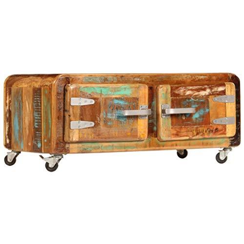 mewmewcat Couchtisch Holz Couchtisch mit Rollen Holz Wohnzimmertisch mit Stauraum Retro Sofatisch Wohnzimmer Holztisch Vintage Kaffeetisch 80 x 55 x 40 cm