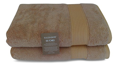"""SALBAKOS Fine Italian Silk and Combed Turkish Cotton Bath Towels, Incredibly Soft, Eco-Friendly 30""""x60"""", 625gsm (Set of 2, Taupe)"""