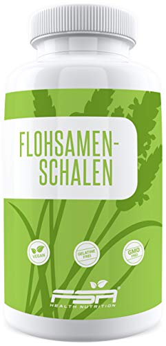 Flohsamenschalen 180 Kapseln, 1200 mg pro Kapsel / 3600 mg pro Tagesportion, 100% Psyllium Husk, Vegan - Made in Germany - FSA Nutrition