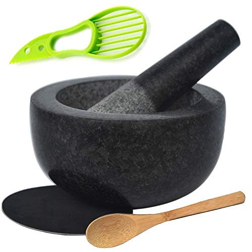Large Granite Mortar and Pestle Set 6.3 inch, Cozymat Molcajete, Salsa Pestos Guacamole Bowl, Herbs and Spices Grinder, with EVA Anti-scratch Pad& Spoon, Black