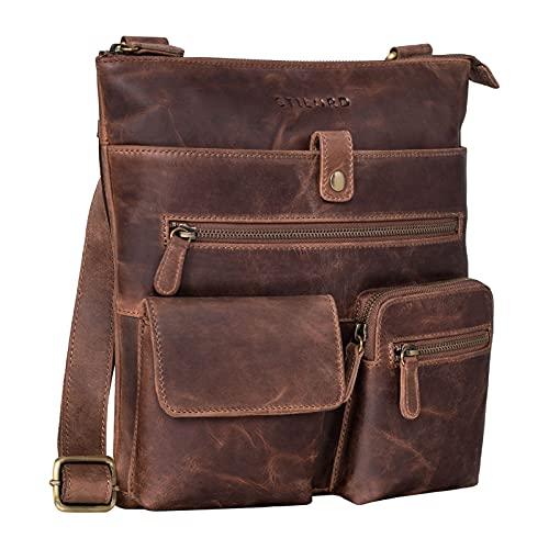 STILORD 'Jess' Vintage Bandolera de Cuero para Hombres y Mujeres Bolso de Ocio Bolsa de Hombro con hombrera para DIN A5 y iPad de 10,1 Pulgadas, Color:marrón - Medio
