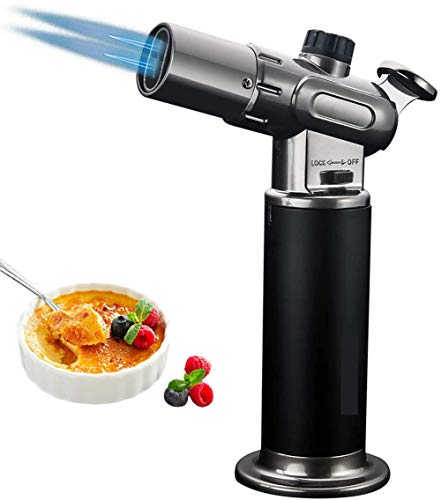 Kitchen Culinary Butane Torch, Refillable Blow Torch Cooking Lighter with Safety Lock and Adjustable Flame for BBQ, Baking, Brulee Creme and Desserts (Butane Gas Not Included)