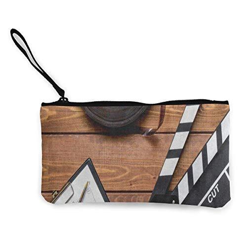 Unisex Wallet, Coin Bags, Canvas Coin Purse Vintage Movie Clapboard Tape Customs Zipper Pouch Wallet for Cash Bank Car Passport
